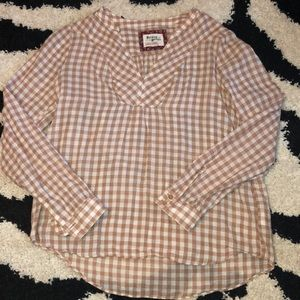 Anthropologie Pullover Top Tan/Cream Check Size 2